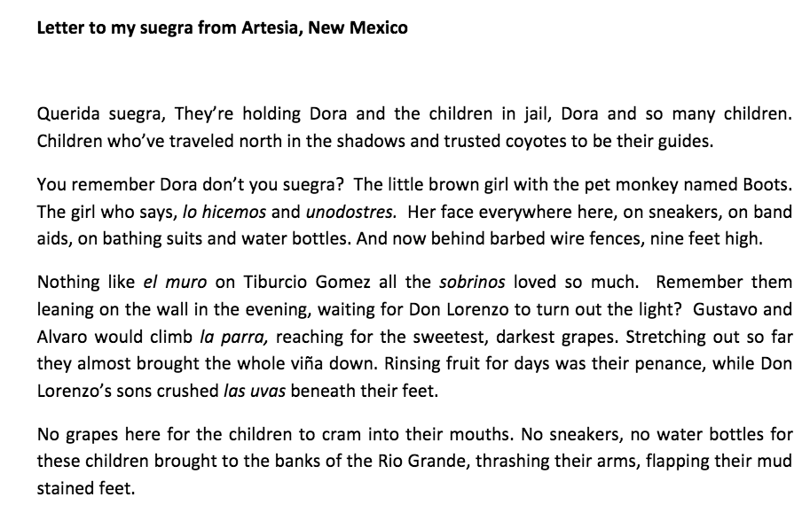 Letter to my suegra from Artesia, New Mexico